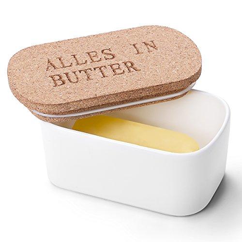 Sweese 3101 Butterdose aus Porzellan mit Deckel aus Kork, groß, Weiß Test