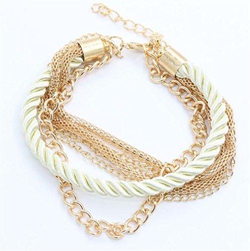 Eine Gute Wahl Handgestrickte Armband mehrschichtiges Leder Seil Perlen Armband (weiß)