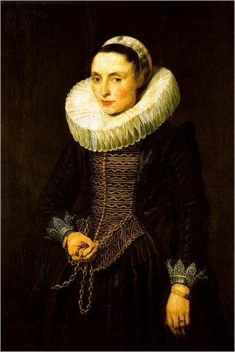 ld 20 x 30 cm: Bildnis einer Dame von Anthonis van Dyck/akg-images - fertiges Wandbild, Bild auf Keilrahmen, Fertigbild auf echter Leinwand, Leinwanddruck (Ruff Kragen Kostüm)