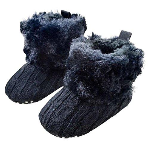 Malloom Baby Schneestiefel Weich Krippe Schuhe Kleinkind Stiefel (11, marine) (Keile Ballett Leder)