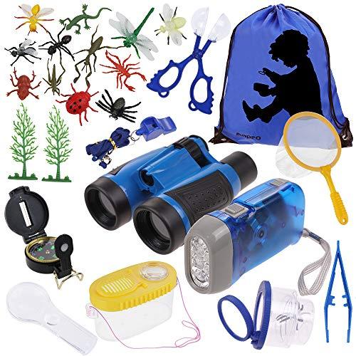 Anpro 25Stk Kinder Outdoor Exploration Spielzeug, Abenteur Spielzeug Kit Fernglas Set Outdoor Adventure Set mit Tragetasche Spaß Geschenk Spielzeug für Camping Weihnachten, Blau