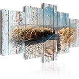 murando - Bilder 200x100 cm - Vlies Leinwandbild - 5 TLG - Kunstdruck - modern - Wandbilder XXL - Wanddekoration - Design - Wand Bild - Holz Strand Landschaft Natur Meer c-C-0029-b-n