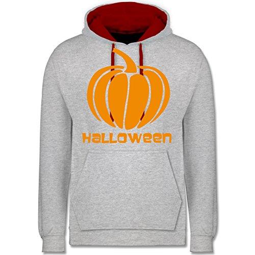 Halloween - Kürbis - Kontrast Hoodie Grau Meliert/Rot