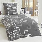 Dreamhome24 2 Teilige Microfaser Bettwäsche Bettbezug 135x200 155x220 80x80 Grau