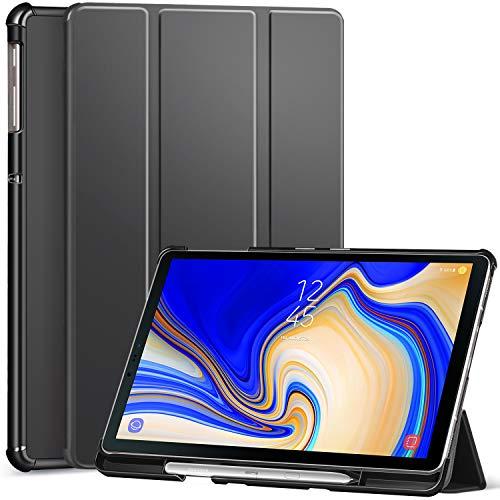 Ztotop Hülle für Samsung Galaxy Tab S4 10,5 2018 mit S Pen Halter,für Modell SM-T830/T835/T837,Leichtgewichts-Ultra Schlank Leder Hülle mit Ständer & Auto Schlaf/Aufwach Funktion,Dunkelgrau