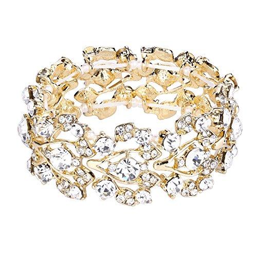 Flyonce Damen Österreichische Kristall Hochzeit Floral Blatt Elastisches Armband Klar Gold-Ton