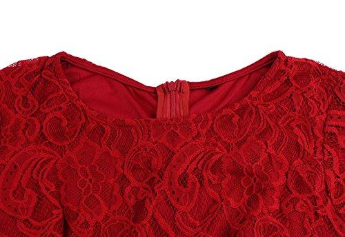 Vestiti retro del merletto di 50s,VERNASSA vestiti convenzionali di swing da collo lungo della manica del manicotto del merletto di cocktail della sera dell'annata, Multicolore, S-XXL 1520-Vino Rosso Merletto