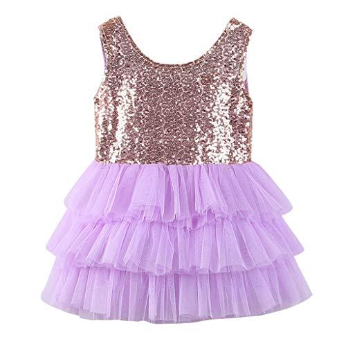 sunnymi  ® 0-4 Jahre Kinder Kleider Baby Mädchen Ärmellos Sequin Bowknot Hochzeit Party Prinzessin Kleid