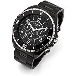 Police Men's Quartz Watch with Black Dial Chronograph Display and Black Stainless Steel Bracelet 13918JSBS/02M