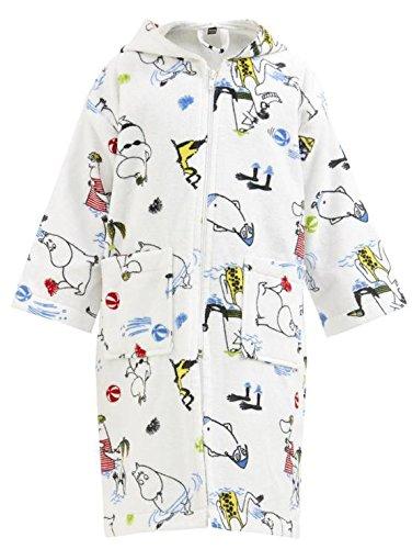 Preisvergleich Produktbild Mumins - Kinderbademantel -Mumin an die Riviera- Weiß,  Größe 5-6 Jährigen (110-122 cm) (Finlayson)