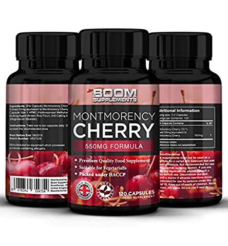 Montmorency Cherry Capsules 550mg Max Strength | 120 Freeze Dried Montmorency Cherry Extract | FULL 4 Month Supply | Powerful Antioxidant | Achieve Health Goals FAST | Safe And Effective | Best Selling | Manufactured In The UK! | Results Guaranteed | 30 Day Money Back Guarantee