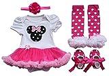 TiaoBug Baby Girls Halloween Ruffles Romper Petti Tutu Skirt Dress Headband Leg Warmer Shoes Outfits 0-3 Months Hot Pink Minnie