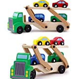 Ireav Toy Vehicles Wooden Double Decker Car Carrier Truck Car Wooden Toys Set with 1 Truck and 4 Car Classic Model Toys for Children