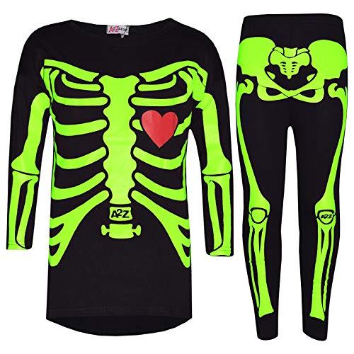 n Tops Kinder Designer Skelett Aufdruck - Skeleton Set Black_Neon Green 9-10 ()