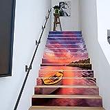 Amphia - Europäische kreative 3D-Treppe Aufkleber Papier 13 Stück.DIY Schritte Aufkleber Abnehmbare Treppe Aufkleber Home Decor Keramikfliesen Muster