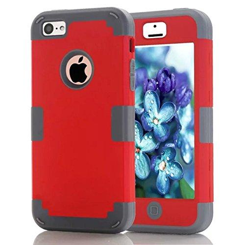 iPhone Case 5C bonbons couleur Série -Lantier hybride de l'Intérieur en silicone souple et étui de protection du corps dur PC Shield Extérieur Slim léger antichoc complet pour iPhone 5C Mint Green + b Red+Grey
