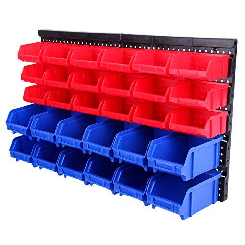 paneltech 32Stück Kunststoff, stapelbare Aufbewahrungsboxen mit Multifunktionale Fächer mit Wandhalterung, Garage Storage Organiser mit Werkstatt und Garage und Haus-Ablage, Regal