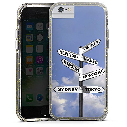 Apple iPhone 6 Bumper Hülle Bumper Case Glitzer Hülle Wegweiser Städte Cities Bumper Case Glitzer gold