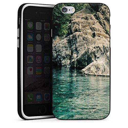 Apple iPhone X Silikon Hülle Case Schutzhülle Felsen Meer Bucht Silikon Case schwarz / weiß