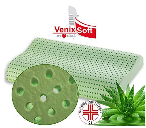 Venixsoft cuscino per letto ortopedico in memory foam Anti Soffoco Terapeutico in linfa DI ALOE VERA dall'effetto cervicale rilassante e riposante. MASSIMA TRASPIRAZIONE-DISPOSITIVO MEDICO CLASSE I-Fodera cotone sfoderabile lavabile. Mady in Italy