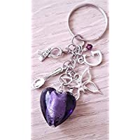 Handmade Improved Personalised Initial Dark Purple Awareness Glass Heart Keyring with Silver Butterfly Hope Spoon Bag Charm