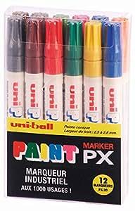 UNI-BALL Lot de 4 Coffrets de 12 marqueurs PAINT Marker PX20/12 2,2 - 2,8mm Assorti
