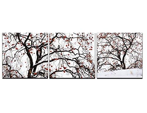 Baum und Blätter Gemälde auf Leinwand 3Panel, canvas, Artwork-02, 48''Wx16''H
