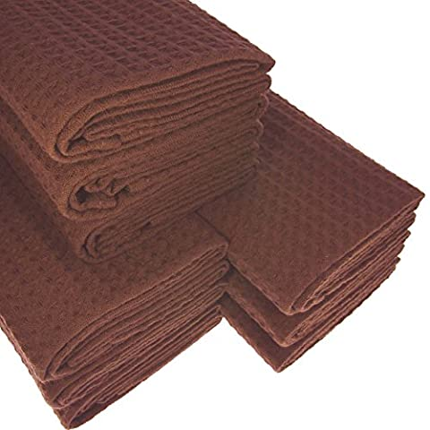 9x Tea Towel Made From 100% Cotton Waffle Pique Dark Brown/Chocolate