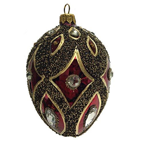 Pinnacle Peak Trading Company Burgundy Gold Black Jeweled Faberge Inspired Egg Polish Glass Christmas Ornament -