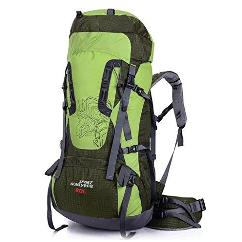 Outdoor-Klettern Reitpacktasche Tasche Tasche mit großer Kapazität wasserdichte Wanderrucksack 80L Grün