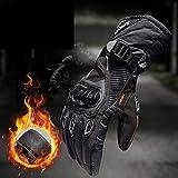 MENUDOWN Motorradhandschuhe 100% Wasserdichte Winddichte Winter Warme Vollfinger-Touch Screen Handschuhe Für Motorrad Radfahren/Jagd/Camping/Wandern/Klettern/Outdoor Sports Handschuhe,Black-L