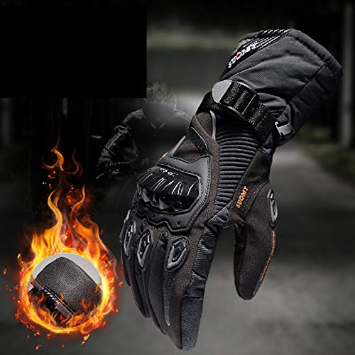 MENUDOWN Motorradhandschuhe 100{461ab47ba608d7893e1aa34a54ebf1aff263803648998c8d09c6d9ae8a8202b7} wasserdichte Winddichte Winter Warme Vollfinger-Touch Screen Handschuhe für Motorrad Radfahren/Camping/Wandern/Klettern/Outdoor Sports Handschuhe,Black-XL