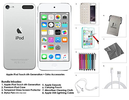Apple iPod Touch 16GB - Silver   Extra Accessories, 6th Generation *NEW RELEASE July 2015*