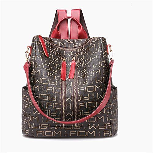 TnXan Leather Backpacks for Adolescent Girls Zipper Backpack Casual Daypacks Female Backpack to School Notebooks Laptop College Bag Trekking Rucksacks Waterproof Backpack