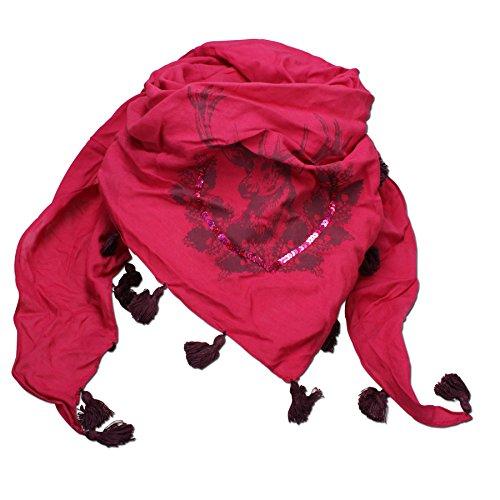 Alpenflüstern Alpenflüstern Dreiecks-Trachtentuch Hirsch pink-fuchsia ATX026