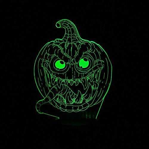 Generic Kreative 3D-LED-Kürbis-optische Täuschung Beleuchtung Dekoration für Halloween, Weihnachten Ferienzeit, perfekte Nachtlicht für Kinder, Kinder, atemberaubende dekorative Schreibtischlampe Stimmungsbeleuchtung für (Kostüme Depot Home)