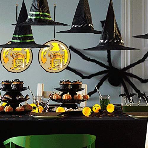 miss-an Hölzernes Hohles Hängendes LED-Licht, Hexen Machen Gift Design Kleine Ornamente,Halloween Party Dekoration Anhänger (Paulilong + OPP Beutelverpackung)