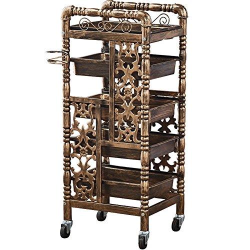 AACART Mobil Salon Gold Friseurwagen Salon Trolley Multifunktion Barbier Lager Haar Rollen Wagen Schönheit Werkzeug mit Schubladen & Räder, Gold