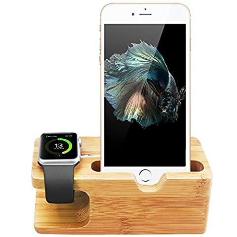 Support Apple Watch, WOWO Bambou Naturel Station de Charge iWatch Station D'accueil Charging Dock Station pour Apple Watch iWatch 42mm 38mm et iPhone 7 7 Plus 6 6S Plus SE 5 5S 5C