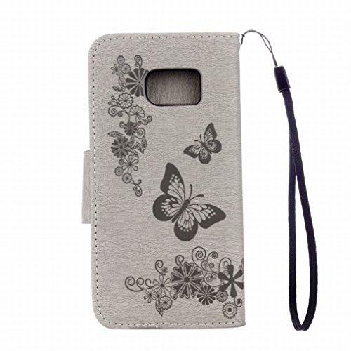 LEMORRY Samsung Galaxy S7 Custodia Pelle Cuoio Flip Portafoglio Borsa Sottile Fit Bumper Protettivo Magnetico Chiusura Standing Card Slot Morbido Silicone TPU Case Cover Custodia per Galaxy S7 (G930F) Grigio