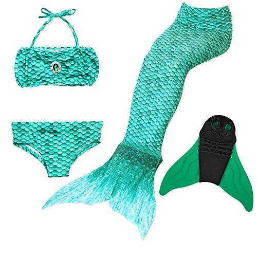 GNFUN Meerjungfrauenschwanz zum Schwimmen mit Meerjungfrau Flosse 100-170cm Höhe,Schwimmen Kostüm Kinder, ()