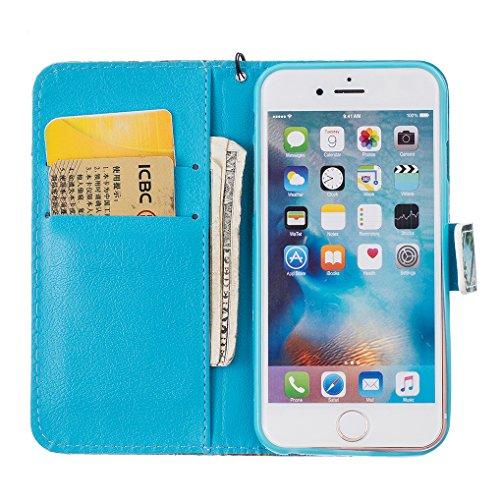 Yidaxing Custodia iPhone 7 PLUS, Custodia a portafoglio in PU Pelle Bookstyle Flip Wallet Case Cover Liscio Leggero con Funzione di Supporto e Chiusura Magnetica e Fessura per Carta, Non toccare il mi Cacciatore di sogni
