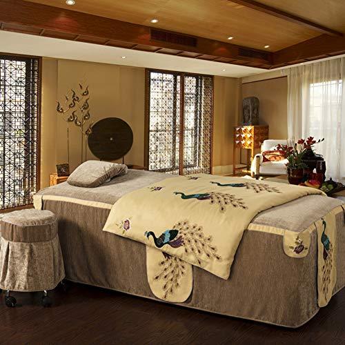 ynh Drucken Massage Tisch Sheet 4 Sätze,weiche Baumwolle Atmungsaktiv Beauty-Bett-Abdeckung rutschfeste Und Fade Resistente Massage-bevorschläge-b 185x70cm(73x28inch) - Blume-bett-satz