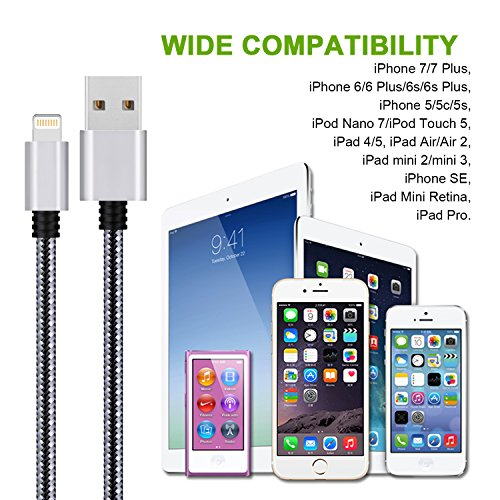 ONELD iPhone Ladekabel Lightning Kabel [3Pack 3m]-Nylon iPhone Ladekabel für Apple iPhone X/8/8 Plus/7/7 Plus/6s/6s Plus/6/6 Plus/5s/5c/5/SE, iPad Mini 2/3/4/Air, iPod und Mehr(Schwarz)