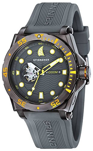 Spinnaker Overboard 1000m Helium Release Water Resistant Diver Men's Automatic Watch with Grey Dial Display on Grey Silicon Strap SP-5023-07