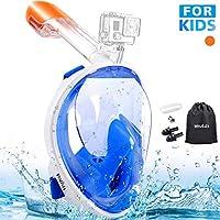 MOSFiATA Maschera per lo snorkeling integrale a 180 ° per bambini, Respirazione facile, Maschera da immersione antiappannamento antiappannamento con supporto per videocamera rimovibile