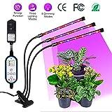 LED-Pflanzenlampe - Semlos Drei-Kopf-Pflanzenlicht Automatik-Timer [4/8 / 12H], 18 LEDs für Pflanzenwachstumslicht, 8 Helligkeitsstufen, Auto-On/Off-Wachstumslampe für Zimmerpflanzen