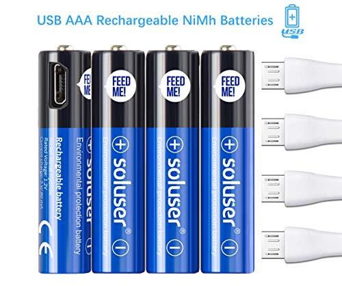 Wiederaufladbare AAA Akku Batterien, Wiederaufladbare USB AAA Akku Batterien 500mAh mit 4 USB Anschlüssen Hohe Kapazität 1,2 V NI-MH Wiederaufladbare Batterie über USB Kabel(4Pack) Usb Aaa Batterie