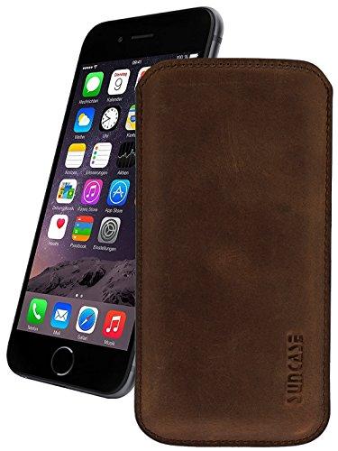 Original Suncase Leder Etui für iPhone 8 / iPhone 7 / iPhone 6s / iPhone 6 (4.7 Zoll) Ultra Slim Tasche Handytasche Ledertasche Schutzhülle Case Hülle (mit Rückzuglasche) antik coffee-braun