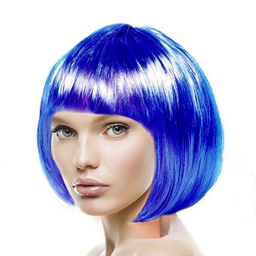 men, Herren & Kinder Cabaret 14 Farben (Blau) (Kinder Perücke Blau)
